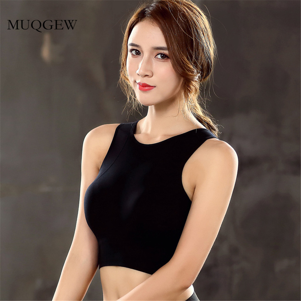 Bras - padded seamless skinny solid crop top high impact support workout fitness sportwear tank top