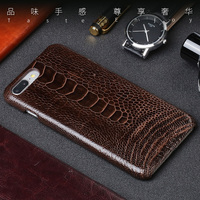 Natural Ostrich Foot Skin Phone Case For IPhone 7P Case Luxury Genuine Leather Back Cover For