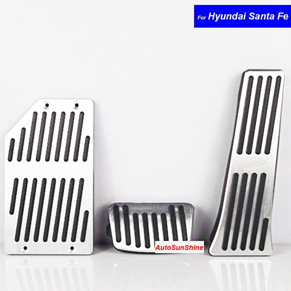 Car Interior Parts Aluminium Alloy Petrol Clutch Fuel Brake Braking Pad Foot Pedals Rest Plate for Hyundai Santa Fe Auto Pedals