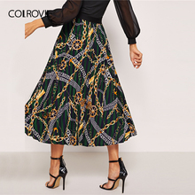 Green Chain Print Vacation Sexy Long Skirt 2019