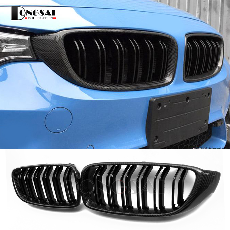 M4 carbon fiber front ABS kidney bumper grille for BMW 4 series F32 F33 F36 F82 F83 M4 F80 M3 420d 430i 430d 440i 435i 428d carbon fiber auto front lip splitter flags for bmw 4 series f32 f33 435i m sport coupe