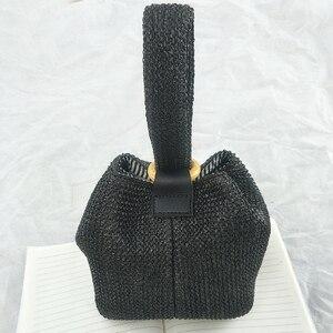 Image 3 - Brand Straw Bags for Women Beach Bag Personality Crossbody Lock Handbag Lady Vintage Handmade Knit Fashion Shoulder Bag