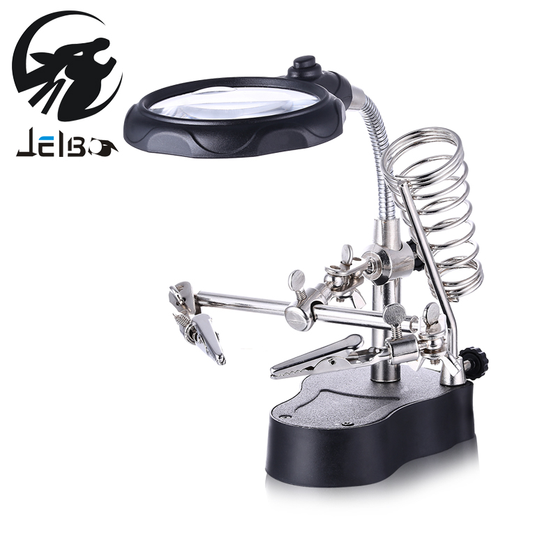 Jelbo Welding Magnifying Glass LED Light 3.5X 12X Lens Auxiliary Clip Loupe Desktop Magnifier Third Hand Soldering Repair Tool 5x desktop clip lighted magnifying glass with led light illuminated white optical glass clip on magnifier 1 2v dc loupe