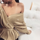 MissyChilli Pearl elegant loose pink sweater Women ruffle v neck sexy christmas sweater jumper Autumn winter knitted Pullover