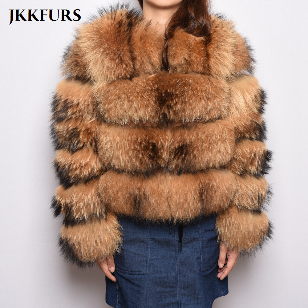 4 Rows Women s Fashion Real Raccoon Fur Coat Genuine Natural Fur Leather Jacket Overcoat Lady