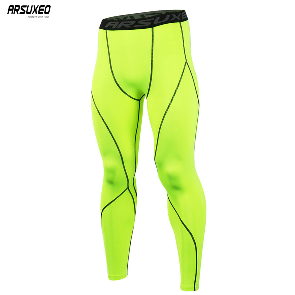 ARSUXEO Men Sport Compression Tights Base Layer Running Tights Pants Run Fitness GYM Workout Active Training Exercise Pants K3 rib knit tights