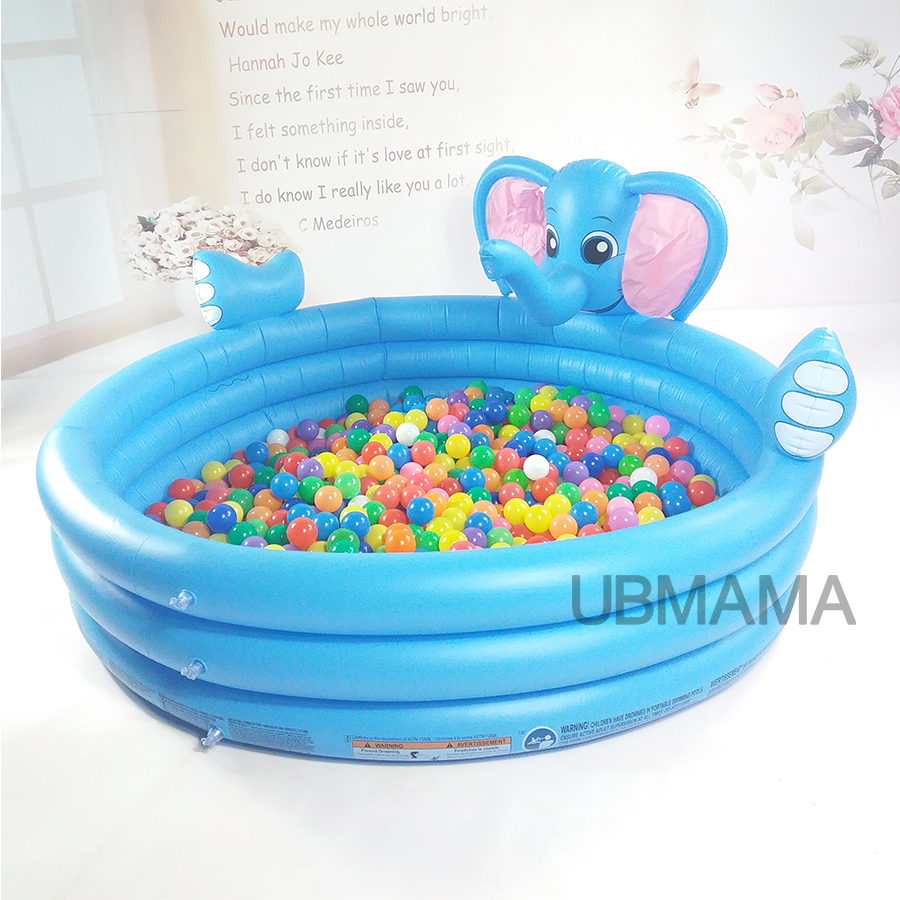 Inflatable Swimming Pool 3 Floor Plastic Inflatable Round Children Swimming Pool With Water Spray Cartoon Blue Elephant Pool