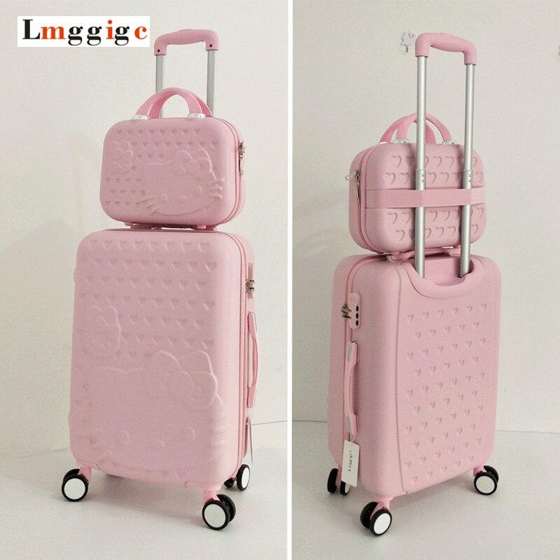 Hello Kitty Luggage bag,Children Women Suitcase set,ABS Cartoon Travel Box,Rolling Trolley Hardcase bag ,20