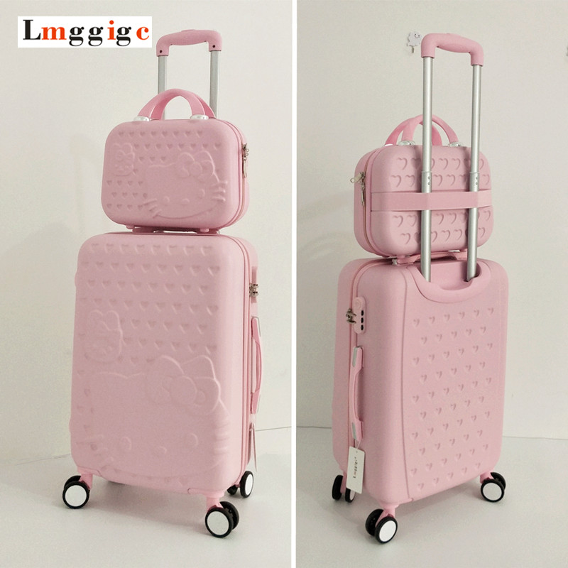 Hello Kitty Luggage bag,Children Women Suitcase set,ABS Cartoon Travel Box,Rolling Trolley Hardcase bag ,20