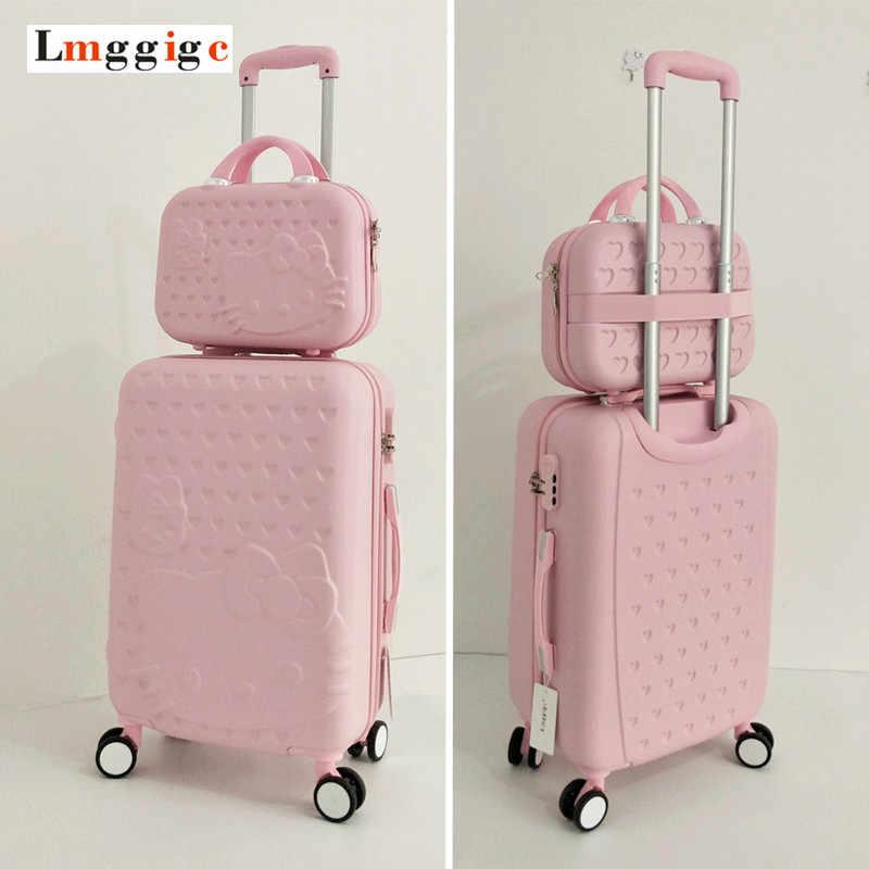 0163b51fa Hello Kitty Luggage bag,Children Women Suitcase set,ABS Cartoon Travel  Box,Rolling