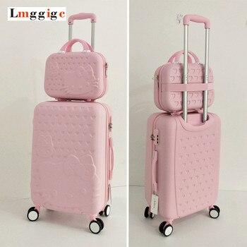 Hello Kitty sac à bagages, enfants valise femmes ensemble, boîte de voyage de bande dessinée ABS, sac à roulettes Trolley Hardcase, 20