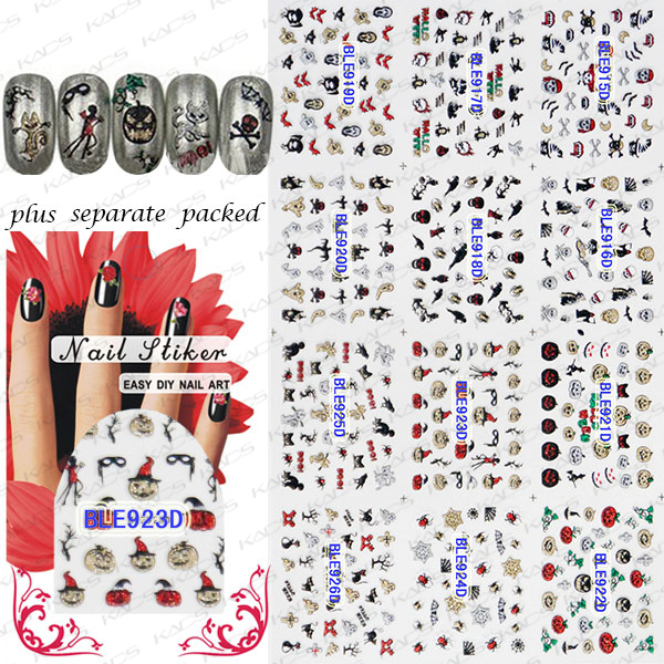 2015 HOTSALE 90 Hoja/LOT 3D glitter etiqueta engomada del clavo de Moda de Halloween de Halloween pegatina para nail design 3d + Separada embalado