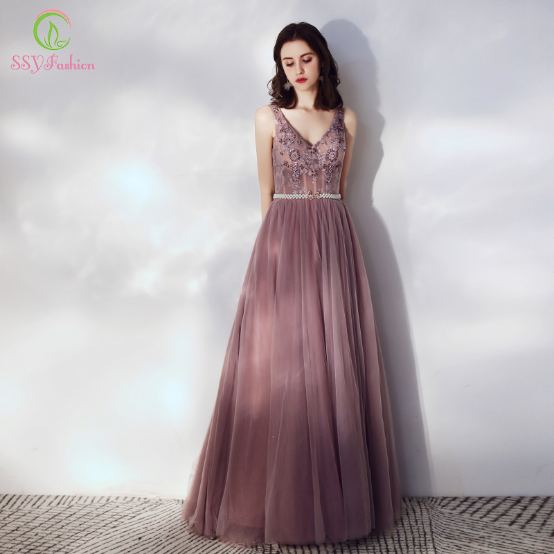 SSYFashion New Purple Evening Dress Banquet Elegant V neck Lace Beading Floor length Party Formal Gowns