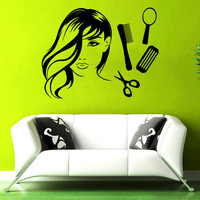 Wall Decal Girl Face Hair Scissors Comb Decor Beauty Salon Decals Sticker 22inchx28inch