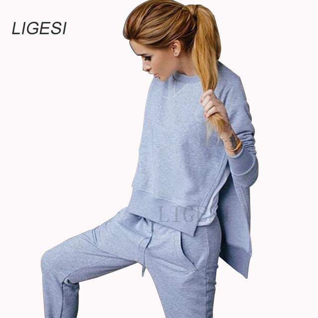 2016 de Inverno Mulheres Outono Agasalho de Algodão 2 Peça Set Roupas Sólida Mulher Sportswear Terno Hoodies Irregulares Definir Trajes