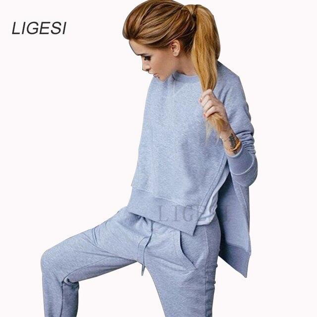 2017 Automne Hiver Femmes Coton Survêtement 2 Pièce Set Vêtements de Sport Solide Costume Femme Irrégulière Hoodies Set Costumes