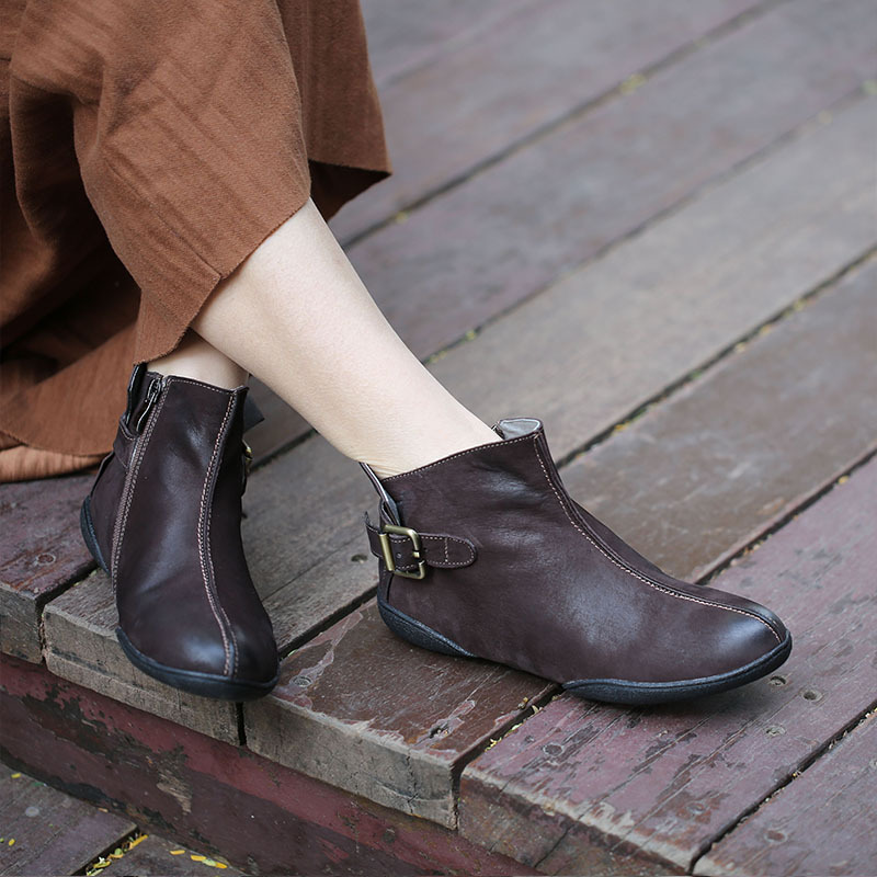 Tyawkiho Genuine Leather Women Ankle Boots Coffee Retro Chelsea Boots For Women Low Heel Leather Shoes Sale Retro Handmade Boots