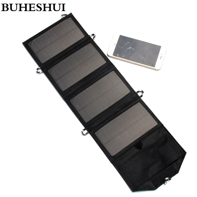 BUHESHUI 5V 7W Portable Folding Solar Panel Charger Power Source Mobile USB Charger for Cell phones/Mobile Power Bank NEW ultrathin portable 2400mah mobile power bank 5v 1a