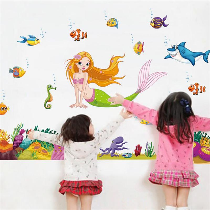 Newest Mermaid Sea World Colorful Fish cartoon girls love toy gifts kids room decoration wall stickers DIY nursery home decor