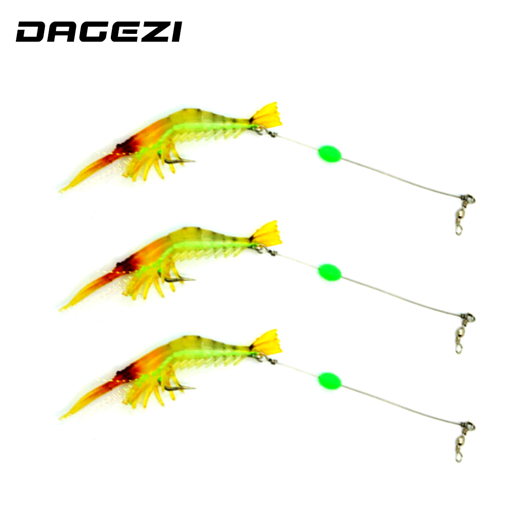 DAGEZI new Luminous Soft Lures Artificial Shrimp Lures/Hooks Wlures 9.5CM 6.4G 3PCS Soft Baits Soft Fishing Lures Fishing Baits super value 101pcs almighty fishing lures kit with mixed hard lures and soft baits minnow lures accessories box