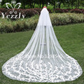 Real Samples 2T White/Ivory Lace Edge Long Bridal Veils With Comb Elegant Cathedral Wedding Veils 2017 Veu De Noiva WB32