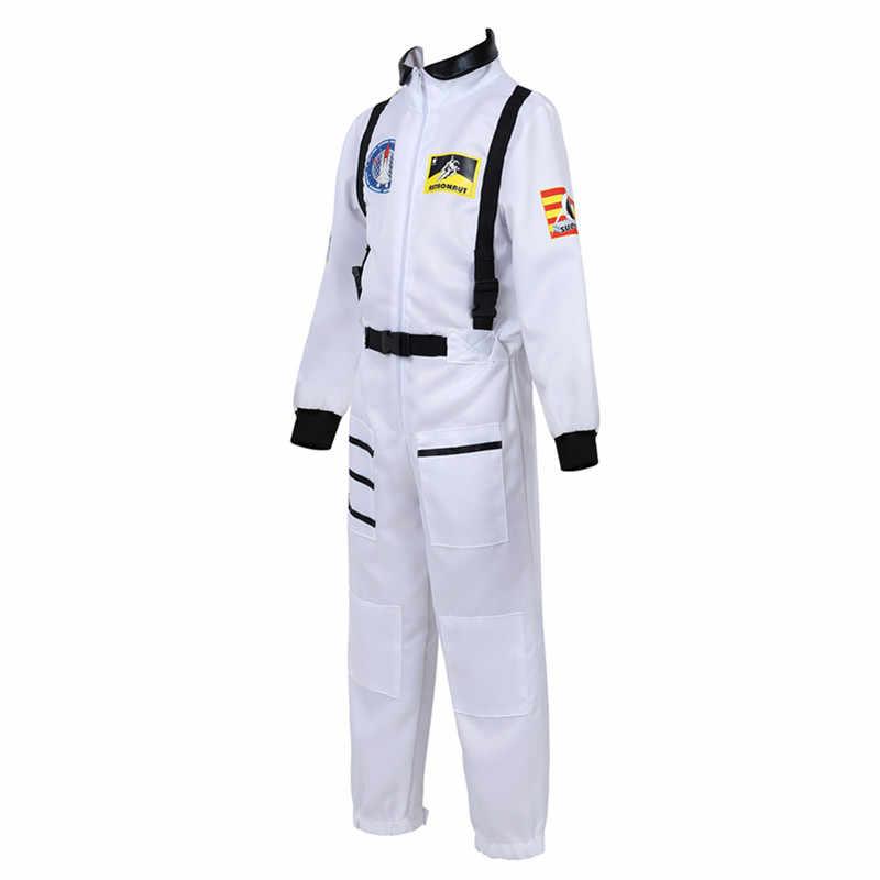 Kids Astronaut Kostuum Rollenspel Set voor Jongens Meisjes Peuters Tieners Ruimtevaarder Jumpsuit Ruimte Pilot Vlucht Pak Jurk up Wit blauw