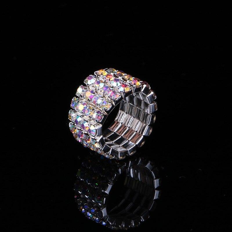 TDQUEEN 1-5 Rows AB Crystal Stone Rings Silver Plated Bridal Wedding Rhinestone Elastic Stretch Rings for Women (6)