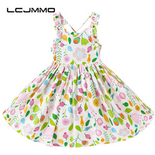 LCJMMO New 2017 Floral Cotton Summer Girls Dress for Baby party princess Braces print Dress Girl Clothing Kids Dresses 18-7Yrs