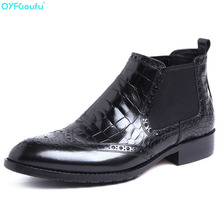 Autumn Winter Genuine Leather Brogues Mens Ankle Boots Fashion Chelsea Vintage Dress Shoes