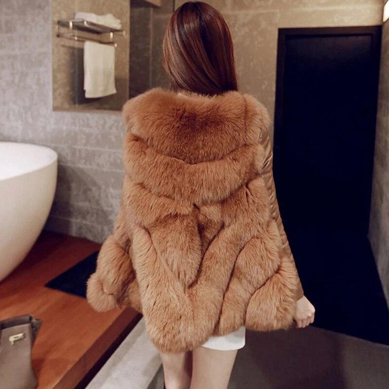 De H065 Taille Faux Femmes cou 2017 Pu Hiver Renard Manteaux Imitation Mode Fourrure Amovible blanc Plus Manches Rouge La camel gris O Cape Vestes xXHEUUqw