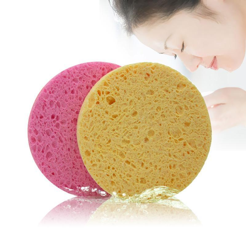 High Quality Face Washing Tool Natural Wood Fiber Face Wash Cleansing Round Sponge Beauty Makeup Tools Cleaning Red Yellow Color