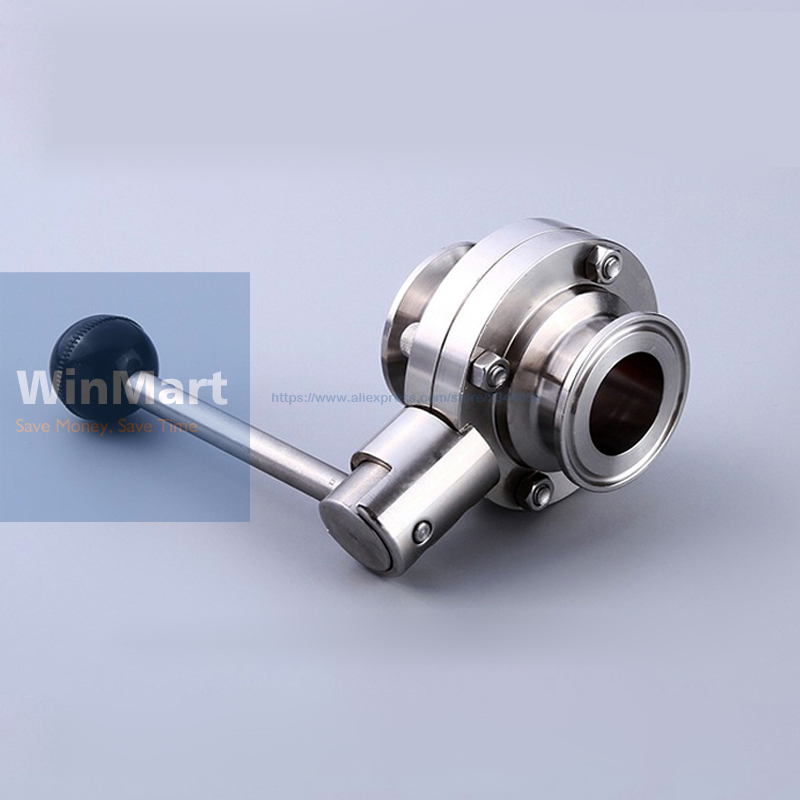 304 Stainless Steel 2 51mm Sanitary 2 Tri Clamp Butterfly Valve Homebrew Beer Dairy Product