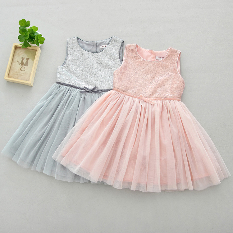 2017 New Baby Girl Spring Summer Dress Sequined Mesh Tutu Dress Kids Girls Party Princess Dresses