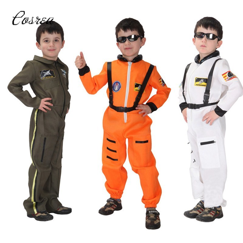 Kids Pilot Uniform Spacesuit Costume Forces Policeman Astronaut Suit Cloth Cosplay Costume Kids Role Play Carnival Purim Party
