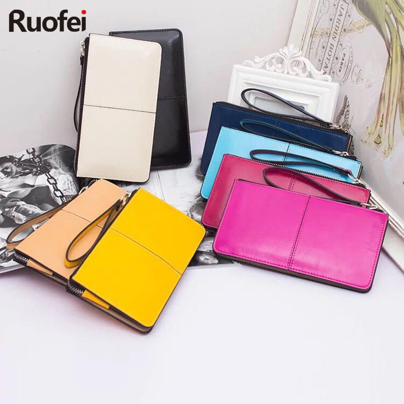2017 Women wallets Candy Oil Leather Wallet Long Design Day Clutch Casual Lady Cash Purse Women Hand Bag Carteira Feminina A4