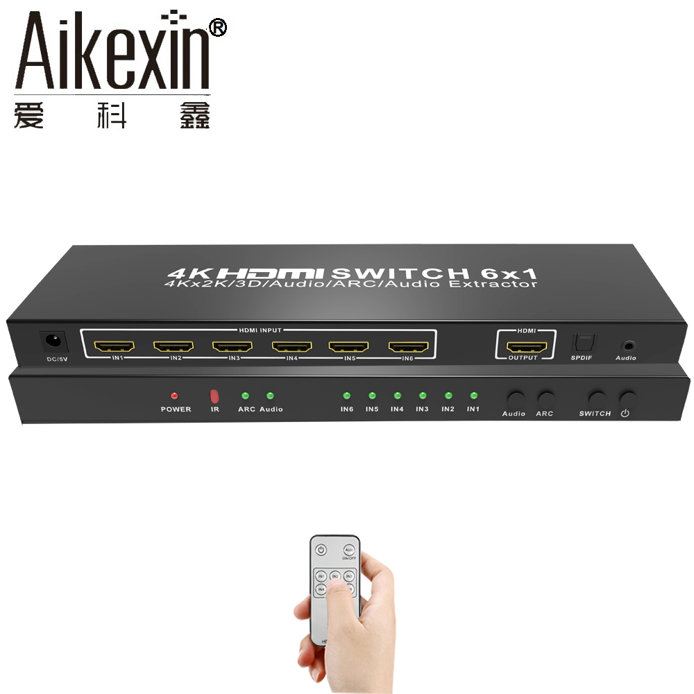 Aikexin 4Kx2K HDMI Switch 6X1 with Remote Control,HDMI Switcher 6 in 1 Out HDMI1.4v Swithcher Box Support Ultra 4K,Full HD 1080P full 1080p hdmi 4x1 multi viewer with hdmi switcher perfect quad screen real time drop shipping 1108