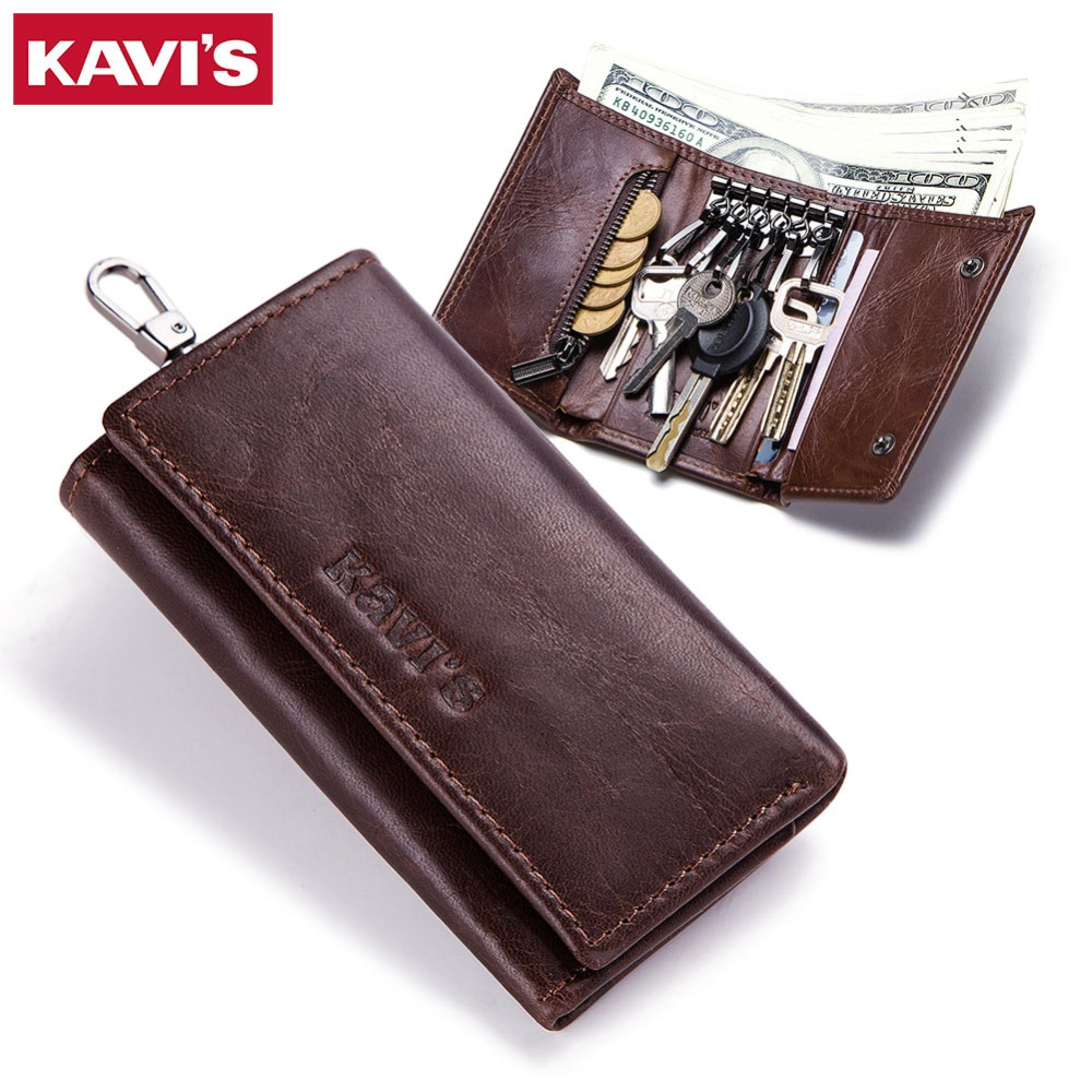KAVIS Genuine Leather Housekeeper Key Wallet Man Ring Case Holder Smart Organizer Bag Coin Pocket Keychain Pouch Purse Wrap For portable car key chain ring keychain case coin holder zipped bag purse pouch