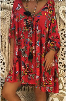 Boho Dress T Shirt Dress Plus Size Xxxl Xxxxl Xxxxxl Butterfly Print Long Sleeve Vestidos Mujer Verano 2019 Red Black Sukienki