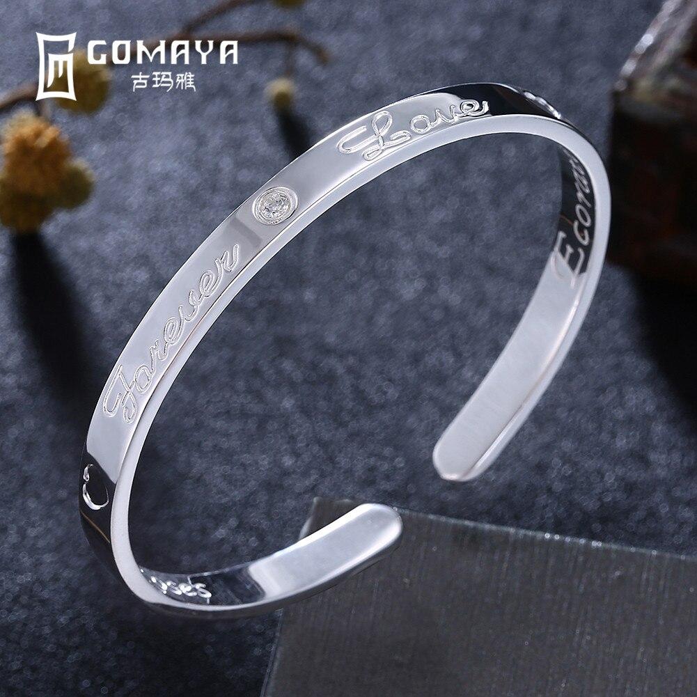 GOMAYA Authentique 999 Sterling Argent Bracelets pour Les Femmes Bijoux Cadeau 2018 Nouveau Manchette Bracelets Antique Bracelets