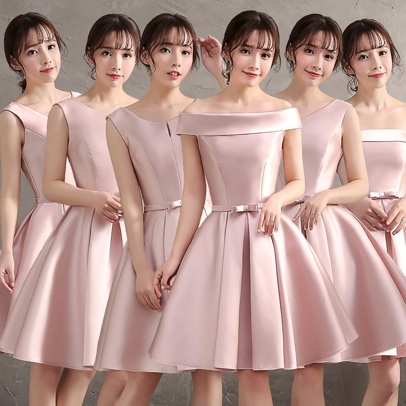 ZX62Y#lace up New bridesmaid dresses spring summer 2017 Bride wedding dresses party cheap wholesale dress red purple champagne