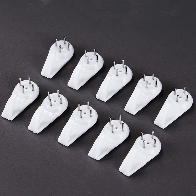 10pcs Picture Frame Wall Nails White Plastic Invisible Photo Hook Picture Hanging Tool Easy Frame Hanger