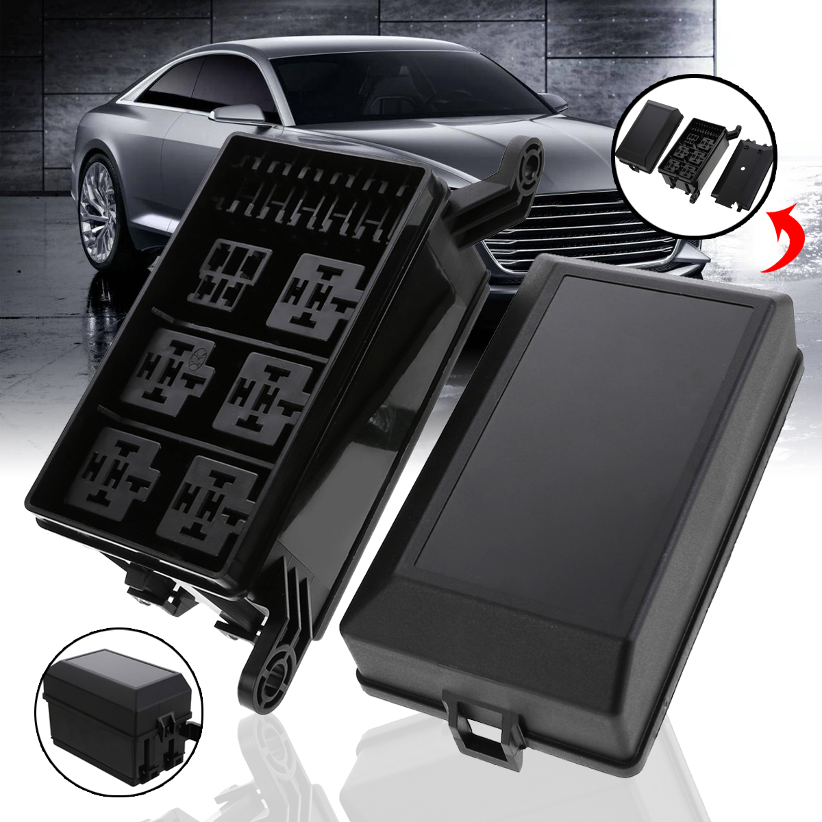 universal for all vehicles 12 slot relay box 6 relays 6. Black Bedroom Furniture Sets. Home Design Ideas