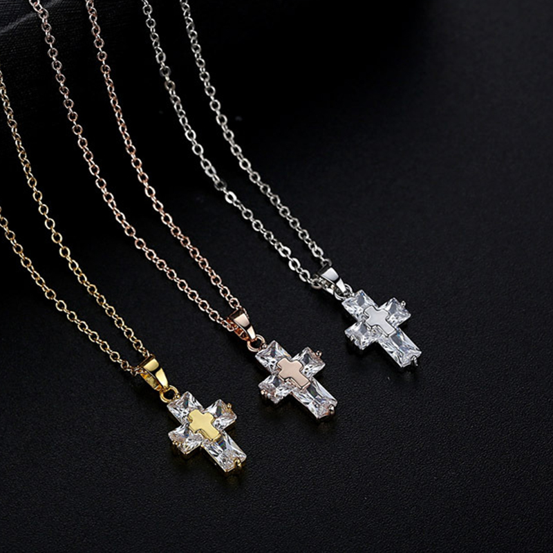 Classic Cubic Zircon Cross Pendant Necklaces Gold Silver Rose Gold Color Cross Christian Jesus Jewelry For Women