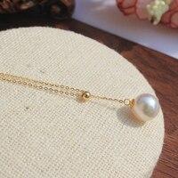 925 de plata real natural grande Enviar certificado amarillo, Akoya agua de mar de perlas collar colgante puede ajustar clavícula larga mo