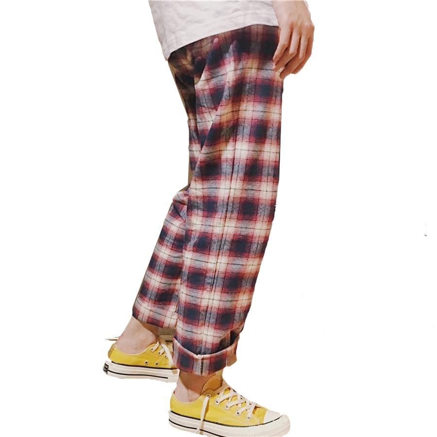 Pajama Long Summer Red Plaid Pants Mens Slim Fit Striped Pants Men