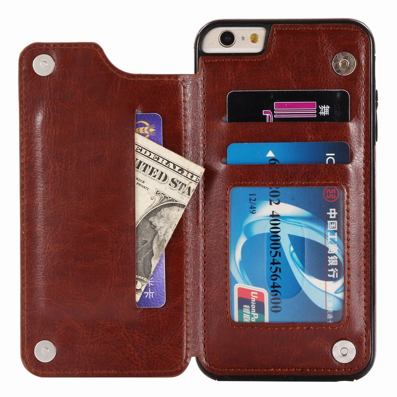 Luxury Retro Back Cover For Apple iPhone 7 / 8 Card Holder Case PU Leather Wallet Kickstand Phone Case For iPhone 8 Card Slots