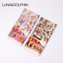 Luna&Dolphin Women Square Scarf 50*50cm Real Silk Scarves Mulberry Silk VintageCarriage Elephant Flower Print Neckchief Headband