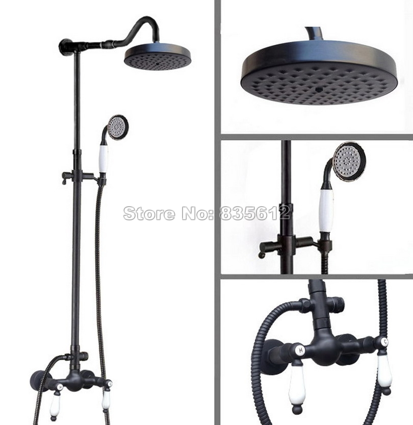 Black Oil Rubbed Bronze Bathroom Wall Mount Rain Shower Faucet Set with Handheld Shower + Ceramic Dual Handles Mixer Taps Wrs777