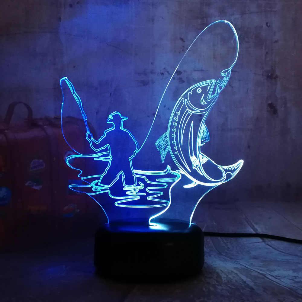 Nouveau Style chinois pêche homme 3D LED RGB nuit Lihgt 7 double couleur couleurs mélangées Lustre cadeau de noël pour enfants nouveauté décor à la maison
