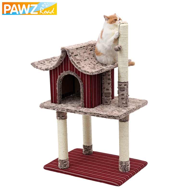 H104/124 cm Big Cat House Wood Furniture Luxury Red House Shape Multi-layer Cat Scratching Post Pet Tree Condo Protect Furniture
